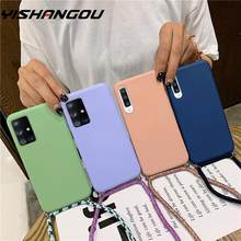 candy color silicone phone case for samsung a51 a71 s20 s8 9 10 cute tpu back cover coque with neck strap samsumg note 10 A50 70(China)