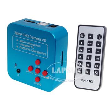 Lapsun 2020 ostatnia 38MP 2K V8 1080P HD przemysłowe laboratorium mikroskopowa kamera HDMI USB wyjście wideo C mocowanie obiektywu lampa pierścieniowa tanie i dobre opinie 500X i Pod Metal Mikroskop wideo Monokularowy