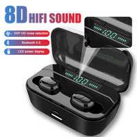 8D Basso TWS Bluetooth Auricolari Senza Fili di Musica di Sport Curvetta Auricolari per iPhone Samsung Auricolare Huawei Honor Xiaomi Cuffia