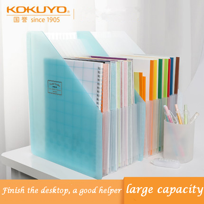 KOKUYO A4 Expanding File Folder Document Wallets Organizer Multi-layers For Table Storage Fresh Style A4 Document Shelf WSG-DFCS