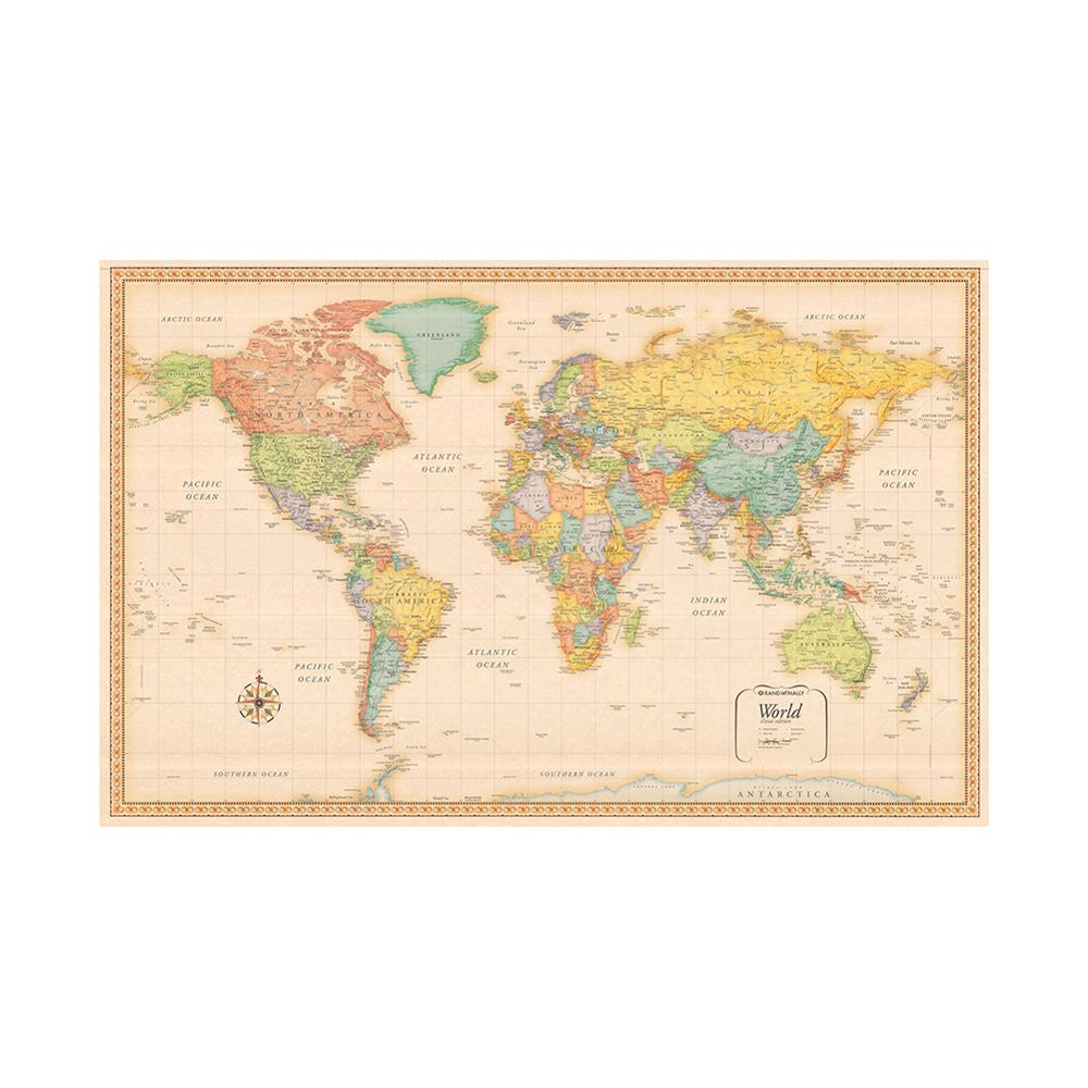 World Map Classic Edition Non-woven Vinyl Spray Map Without National Flag 150x225cm