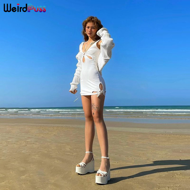 Weird Puss Hollow Out Women Summer Dress Beach Style Deep V Halter Mini Party Skinny Bodycon Side Slit Lace Up Solid Clubwear 5