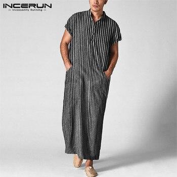 INCERUN Striped Men Islamic Arabic Kaftan Short Sleeve Casual 2020 Muslim Robes Cotton Pockets Middle East Men Jubba Thobe S-5XL