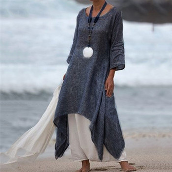 2021 Summer Autumn Plus Size Dresses Women 5XL Loose long Vintage Dress Boho Shirt Dress Maxi Robe Fashion Female autumn summer new women shirt dress long sleeved female dresses slim fashion party office lady sundress plus size casual rob
