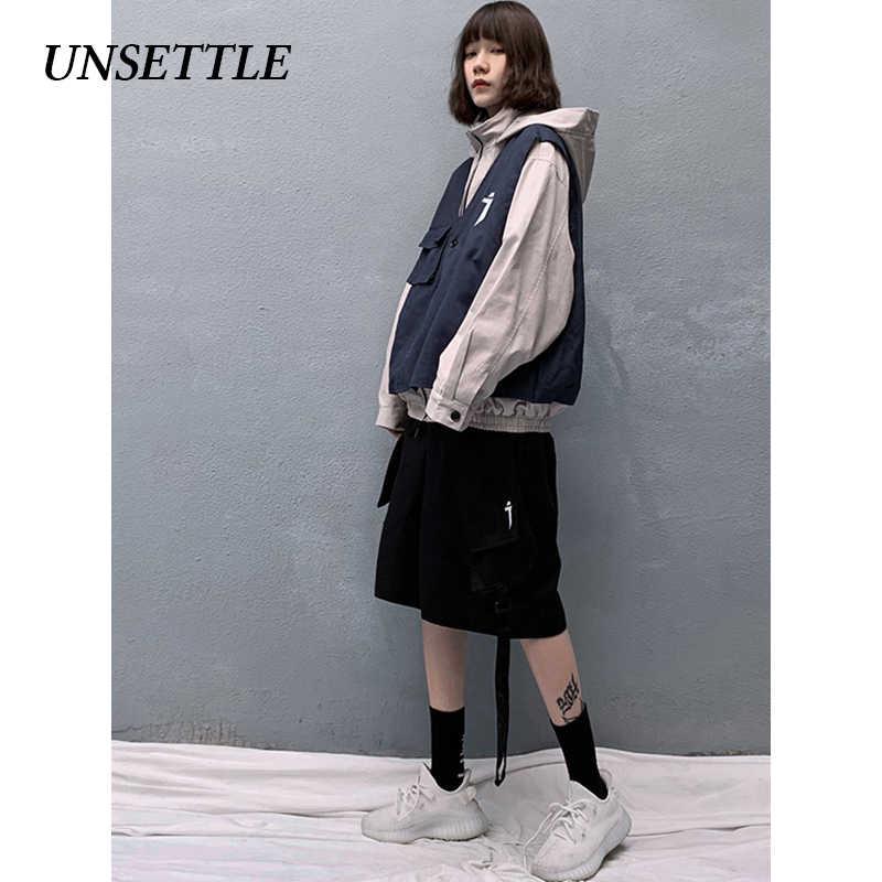 Unsettle 2020SS Mannen/Vrouwen Harajuku Ninja Tactiek Vest Jas Nep Twee Pak Hooded Jassen Hip Hop Cargo Streetwear Mannelijke tops