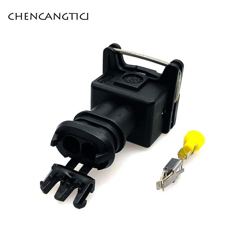 2 комплекта 2-контактный/способ топлива водонепроницаемый EV1 Автомобильный Электрический разъем 282189-1 282762-1 топливная заглушка инжектора для Denon - Color: 2 sets of female