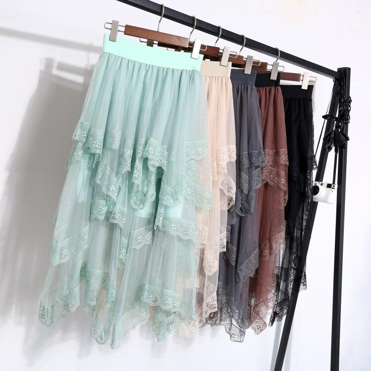 New Winter Long Irregular Port Taste The Wind Multi-level Lace Stitching Yarn Skirts Woman