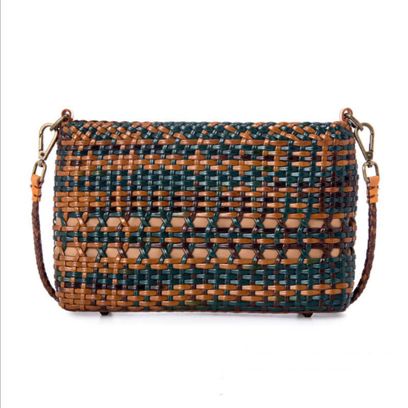 2020 new Ethnic style100% Genuine Leather Color weave hand-woven shoulder messenger bag hollow Vintage Shopping Bag