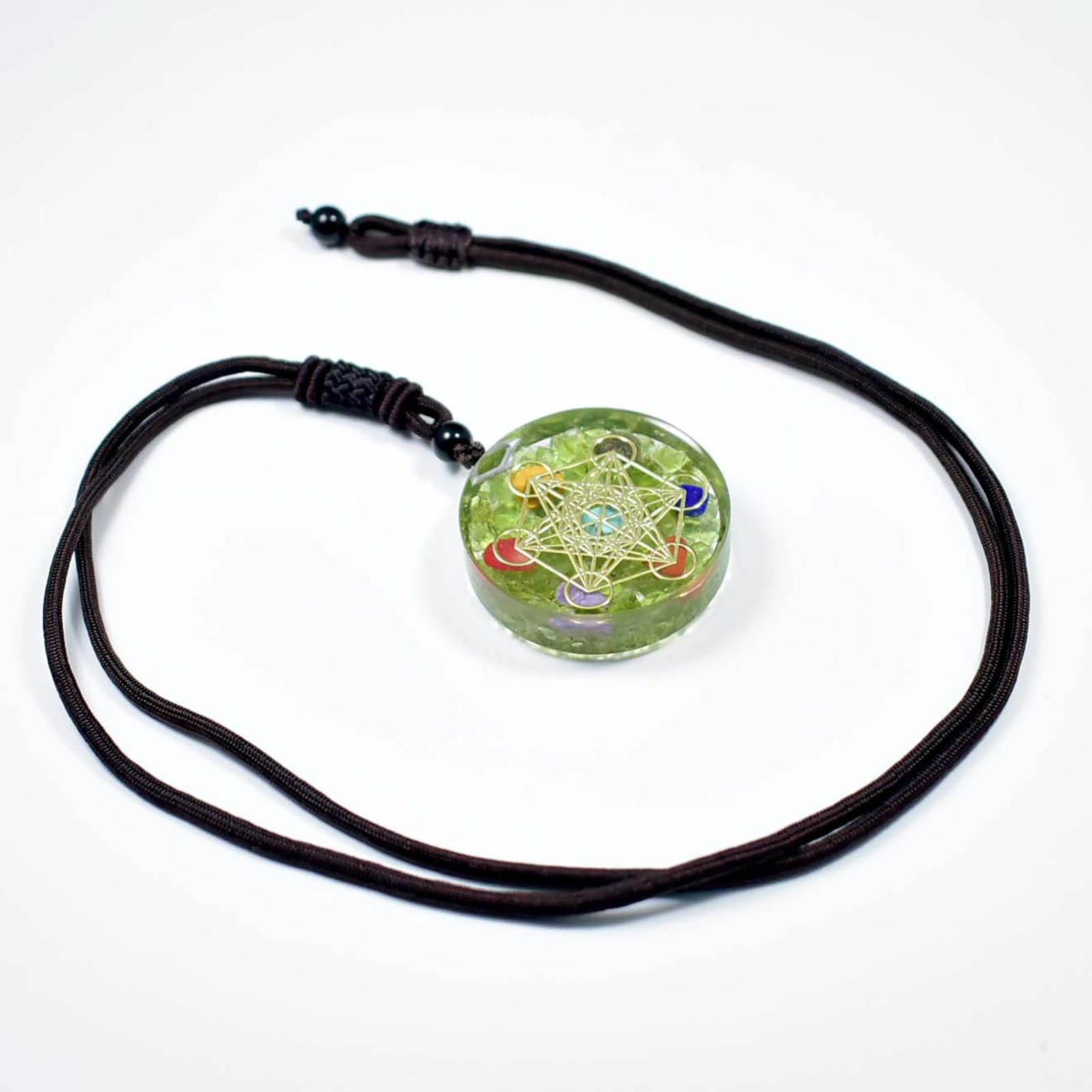 Necklace Ogan Energy Magic Circle Pendant Natural Peridot Resin Seven Chakra Pendant Chain necklace jewelry Bijoux Femme