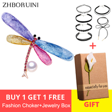 ZHBORUINI 2019 New Natural Pearl Brooch Colorful Dragonfly Breastpin Freshwater Jewelry For Women Gift Accessories