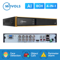 Movols AI 1080P 8CH H.265 5 in 1 DVR video recorder for AHD camera analog camera IP camera P2P cctv system DVR VGA HDMI