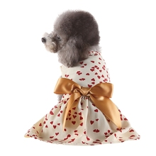 Polka Dot Ribbon Dog Dress Clothes Cozy Sleeveless Shirt Pet Sundress Princess Party Small Skirt