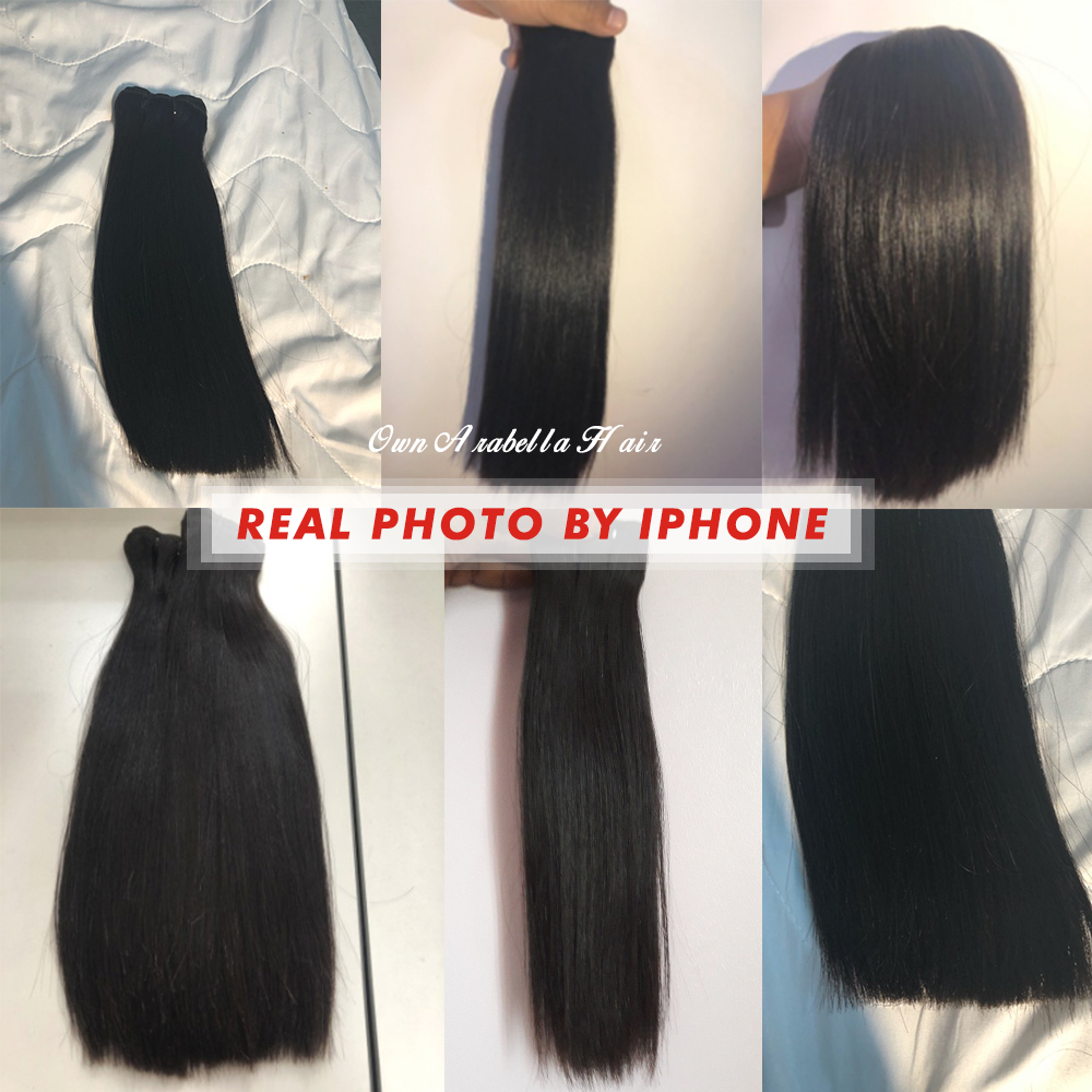 Super Double Drawn Straight Hair Bundles With 13*4 Lace Frontal Arabella Vrigin Hair 100%   Bundles 5