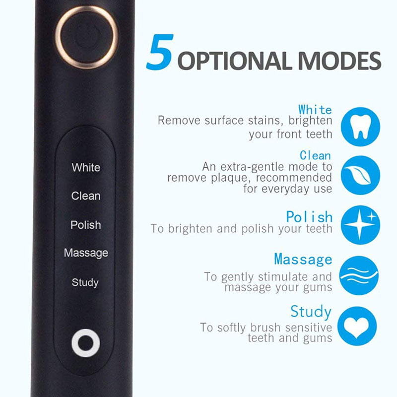 Seago SG-507 Sonic Electric Toothbrush USB Rechargeable Five Working Modes Fully Waterproof Replacement Brush Heads Teeth Brush