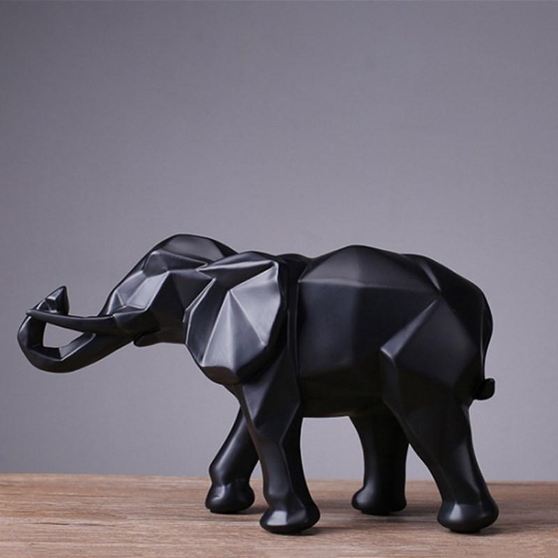 ASFULL Abstrakte Gold Elefanten Statue Harz Ornamente Hause Dekoration zubehör Geschenk Geometrische Harz Gold Elefant Skulptur