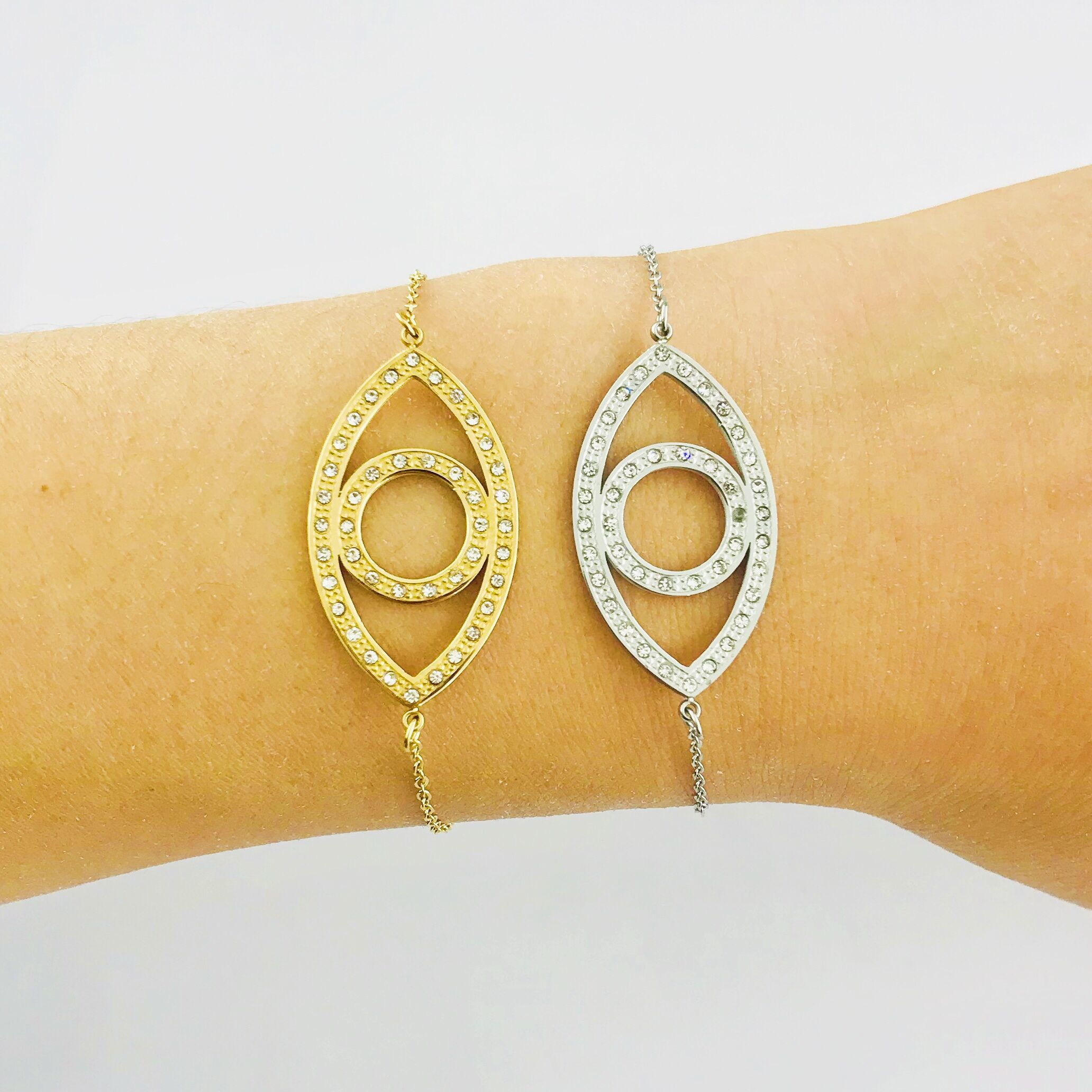 2019 Fashion Stainless Steel Turkish Crystal Evil Eye Bracelets For Women Handmade Gold Chains Lucky Jewelry Bracelet Woman From Homejewelry