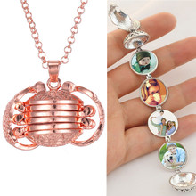 2020 New DIY Flash Memory Photo Locket Necklace Rose Gold Angel Wing Expanding Expanding Photo Necklace Valentine's Day Gift(China)