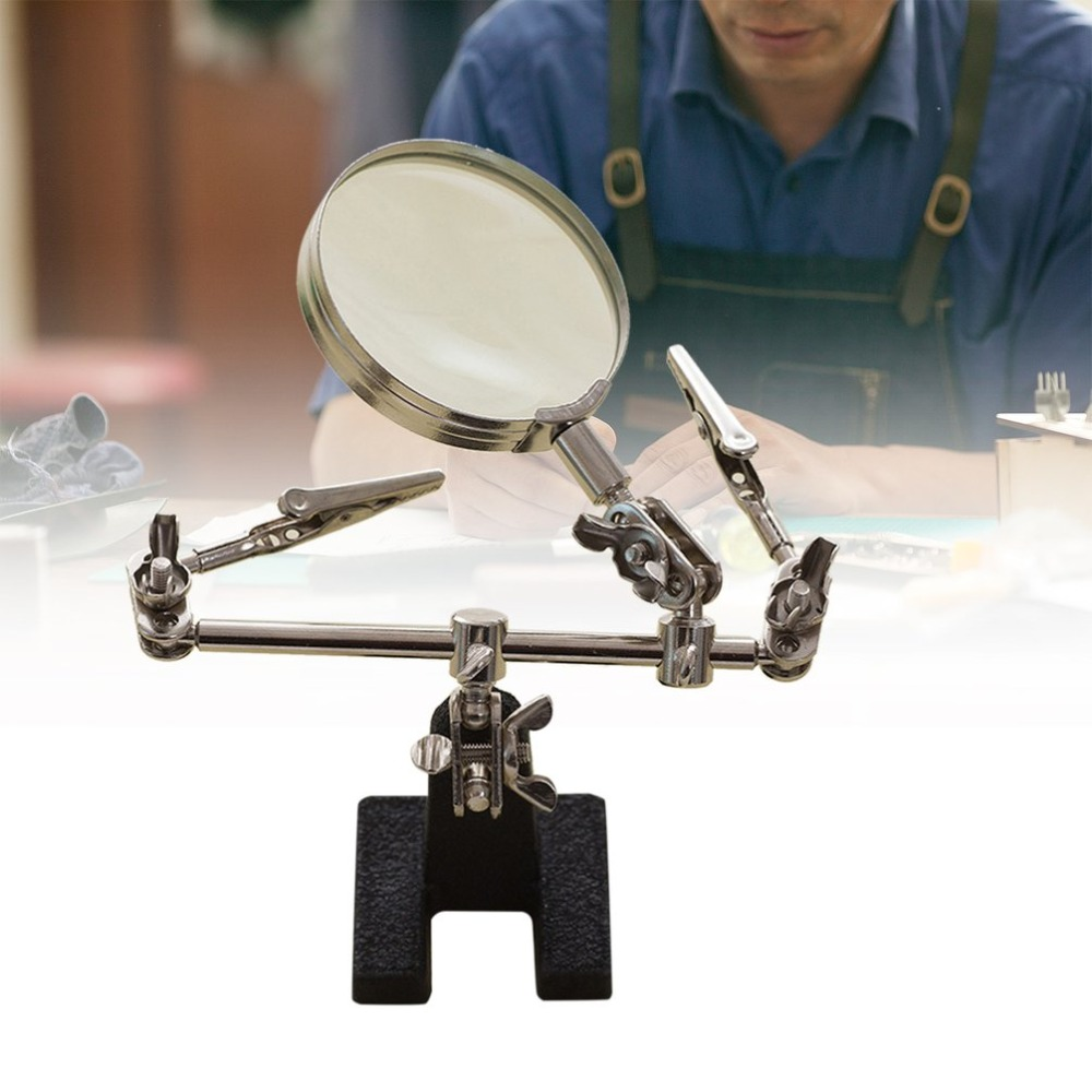 3 Hand 6X Magnifier Portable Clip-on Metal Holder Soldering Iron Stand Welding Tool With Magnifying Glasses For Jeweler Stamps