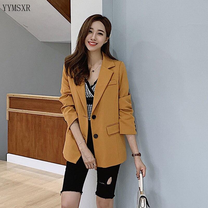 Fashion women's blazer jacket small suit Female 2019 New Korean Autumn Single Breasted Slim Yellow Jacket Casual women's suit