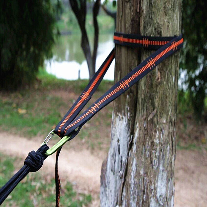 2pcs Super Strong Hammock Strap With Carabiners Buckles Camping Hiking Hamac Tree Hanging Belt Rope Swing Aerial Yoga Bind Rope