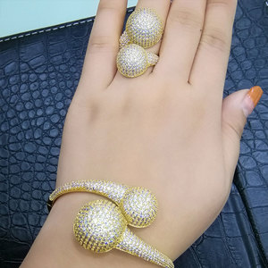 Image 3 - GODKI Conjunto de anillo de brazalete africano para mujer, Bola de discoteca de lujo, juegos de joyas para mujer, brincos de compromiso de boda para as mulheres 2018