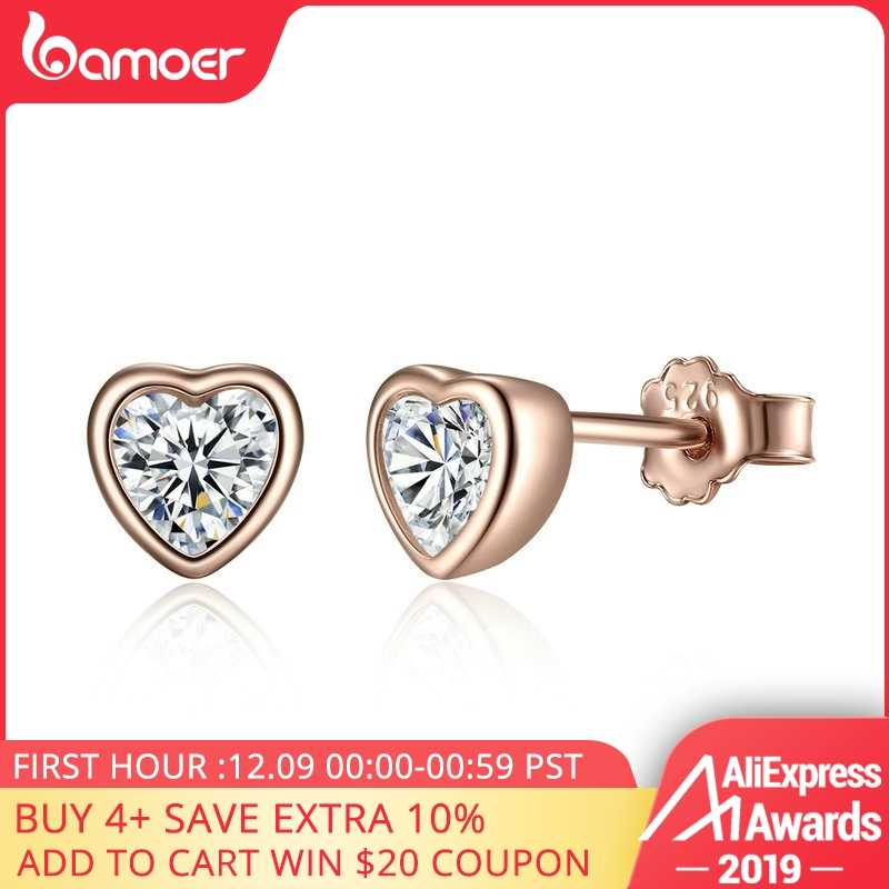BAMOER 925 Sterling Silver One Love Stud Earrings with Clear CZ Female Brincos for Woman Fine Jewelry PAS452