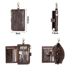 Image 3 - CONTACTS en cuir véritable hommes clé portefeuille avec fermeture à glissière porte monnaie crédit support de carte rfid court portefeuille affaires mâle voiture porte clés