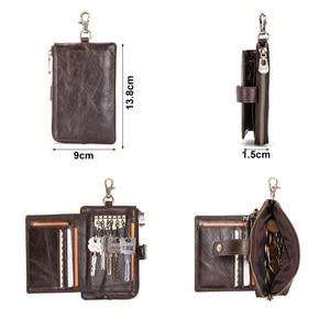 Image 3 - Portafoglio portachiavi da uomo in vera pelle di contatto con portamonete con cerniera porta carte di credito portafoglio corto rfid portachiavi per auto da uomo daffari