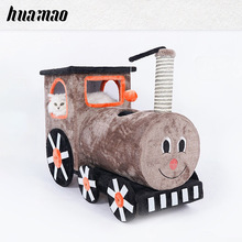 Wooden large cat climbing frame sisal cat litter cat tree cat scratching post locomotive cat toy цена 2017