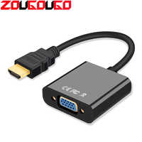 Hot HDMI to VGA Adapter Male To Famale Converter Adapter 1080P with Audio Cable For PC Laptop Tablet