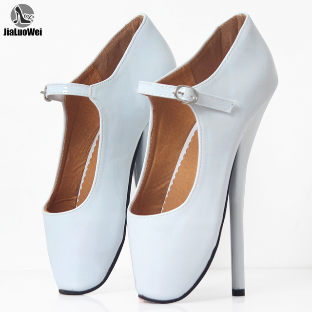 """Brand New 8"""" Sexy Ballet High Heels Shoes High Spike Heel Fetish Sexy Ballet Dancer Pointe Toe Ankle straps Pumps plus size"""