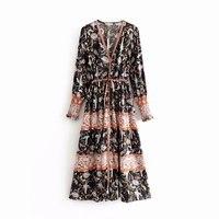 Woah Fashion DJF8576 75 European and American wind girl 19 new crane positioning printed waist dress
