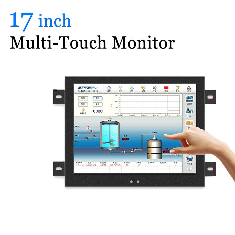 Moniteur capacitif industriel d'affichage à cristaux liquides d'écran tactile Multi d'écran tactile de 17 pouces avec la sortie de VGA HDMI BNC AV
