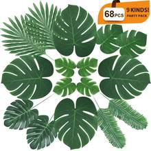 68pcs Artificial Monstera Plants Plastic Tropical Palm Tree Leaves Home Garden Decoration Photography Decorative Leaves 9 Kinds(China)