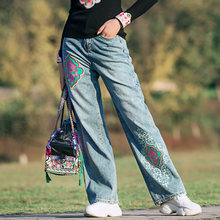 Женские длинные брюки с вышивкой прямые джинсовые размера плюс