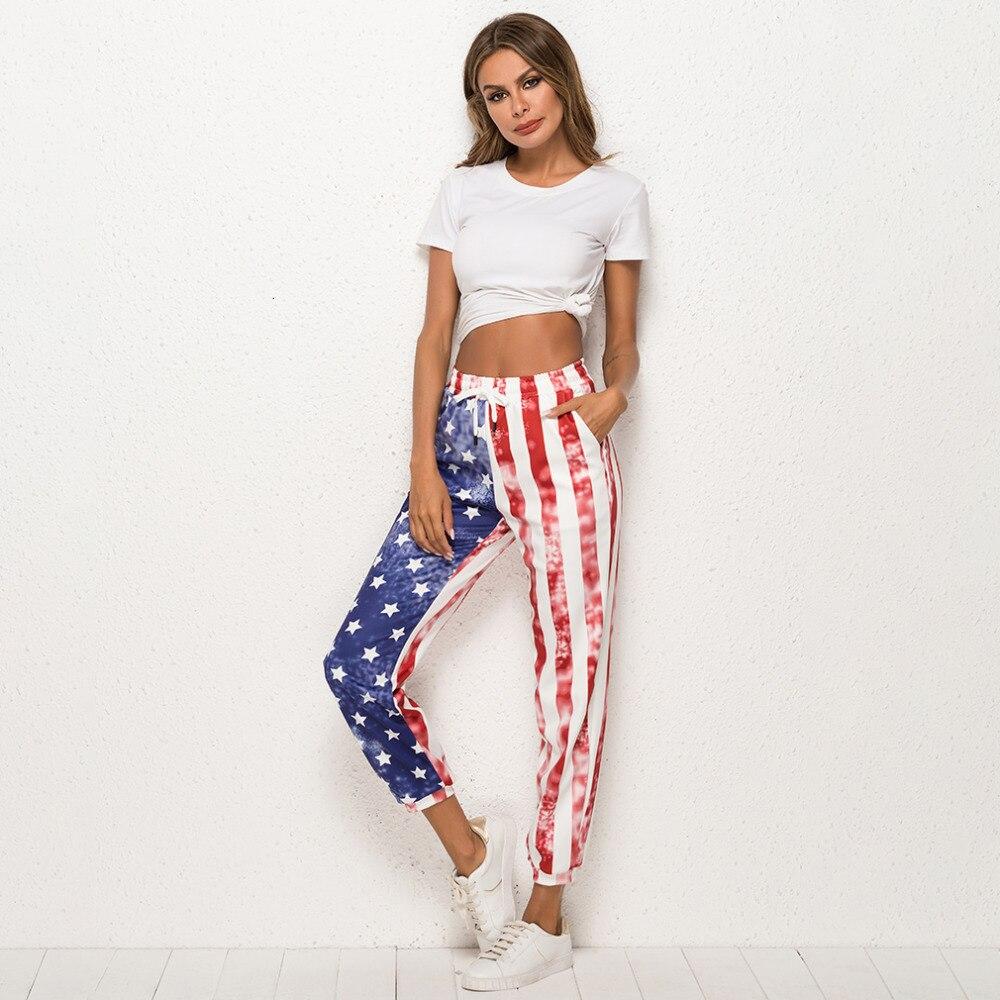 2019 American flag high waist harem   pants   women joggers summer style casual   pants     capri   drawstring female trousers streetwear