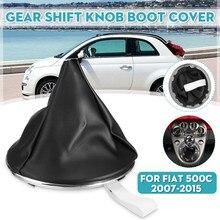 Couro do plutônio botão de engrenagem do carro gaiter boot capa com engrenagem boot ring frame para fiat 500c 2007-2015