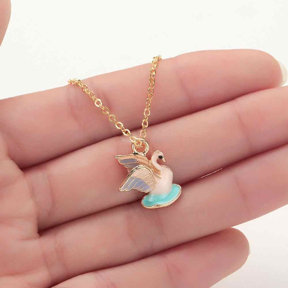 Todorova Charm Necklace Women Enamel Balloon Shell Ginkgo Leaf Swan Bee Fish Tail Heart Rose Flower Pendant Necklace Ladies Gift