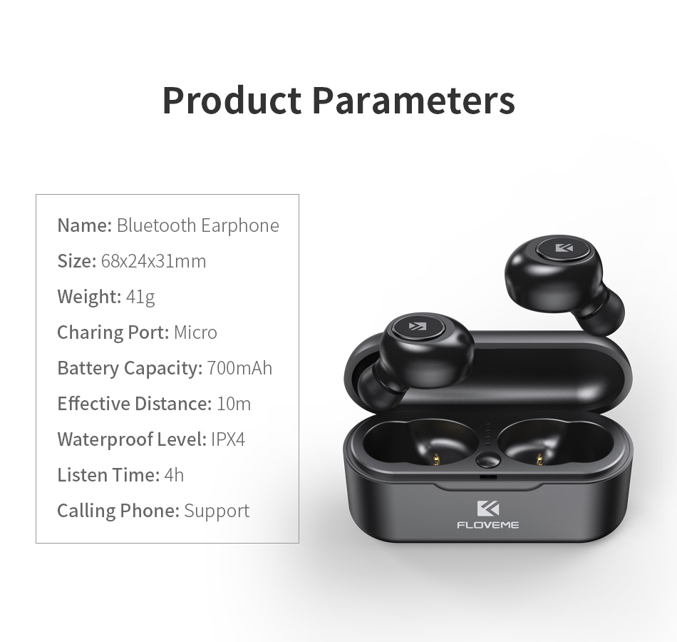 FLOVEME Mini TWS Wireless Bluetooth 5.0 Earbuds