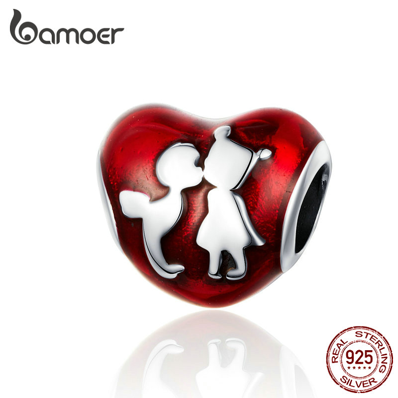 BAMOER Enamel Heart Beads For Charm Bracelet Bangle 925 Sterling Silver Boy And Girl Friends Charms Luxury Brand Jewelry SCC1187