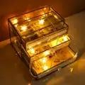 Oro bordo di vetro di trucco scatola di immagazzinaggio del cassetto con vassoio di gioielli 3 strati cassetti in metallo di vetro di trucco cassetto organizzatore di stoccaggio box