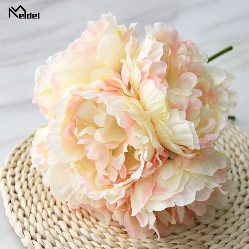 Meldel Peony Bouquet Bridesmaid Wedding Flower Bouquet Artificial Silk Flowers 5 Heads Peony Flower Arrangement Home Decorations