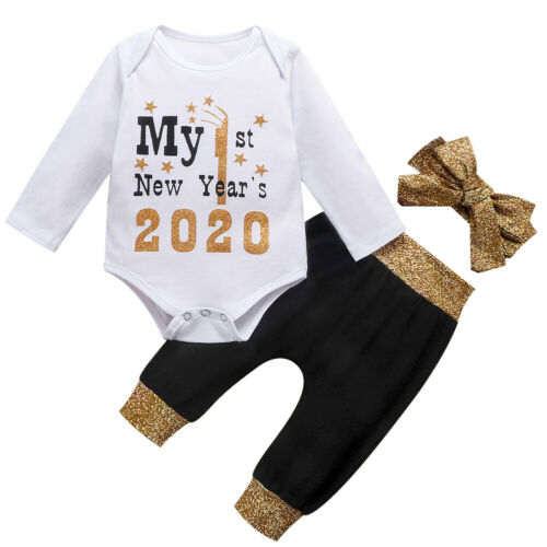 US My 1st New Year Gifts Newborn Baby Boy Girl Romper Pants Winter Clothes 0-24M