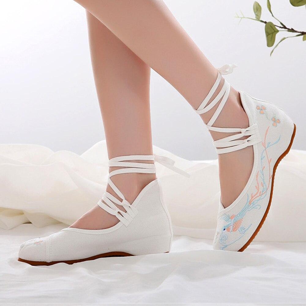 Купить женские тканевые балетки на плоской подошве с ремешком щиколотке