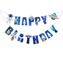 Olevovo Birthday Party Decoration Space Theme Bunting UFO Solar System Outer Happy Banner Baby Shower