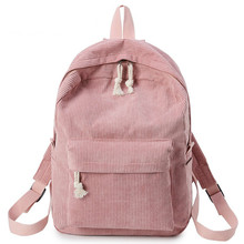 Preppy Style Soft Fabric Backpack Female Corduroy Design School For Teenage Girls Striped Women
