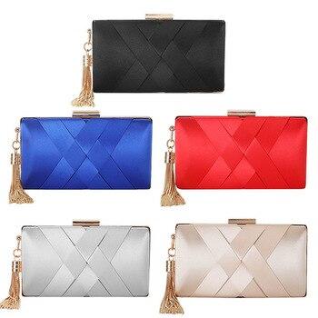 1pcs Tassel Feast Bag,Silk like handhold evening bag,women's European and American fashion dress bag,clutch evening bag
