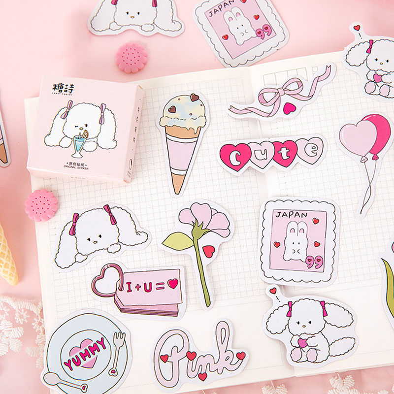 45Pcs Kawaii Stationery Stickers Cute Dog Stickers Cartoon Sticker For Kids DIY Decor Scrapbooking Diary Albums Supplies