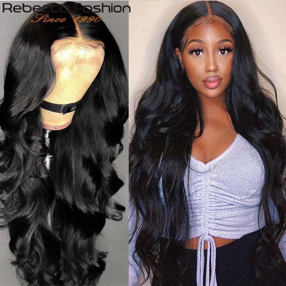 360, передний парик на сетке Rebecca, волнистые волосы, парики из человеческих волос, 30 дюймов, волнистый передний парик на сетке, 180% малазийские в...