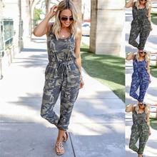Camouflage Print Strap Jumpsuit Casaul O Neck Lace Up Women